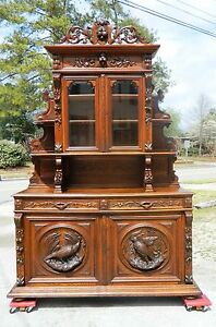 19th Oak Sideboard Buffet With China Bookcase Top Carved Birds And Nuts