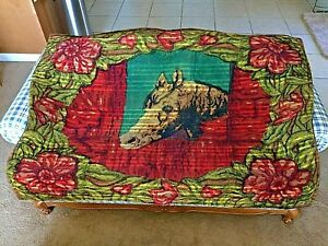 Vintage 60 X 48 Horse Sleigh Carriage Buggy Lap Blanket Glass Eyes