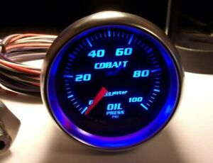 Autometer Cobalt 2 1 16 Electric Oil Pressure Gauge W Sender 100 Psi 6153 Nice