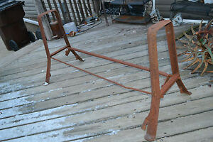 Vtg Industrial Metal Legs Machine Age Console Table Base Steampunk Factory