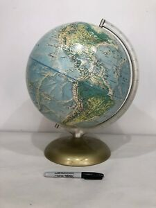 Rare Vtg Rand Mcnally World Portrait Globe Retro Deco Art Mid Modern Metal Usa