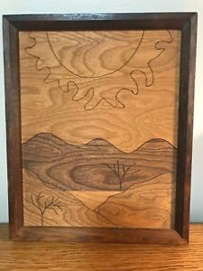 Vtg Marquetry Wood Inlay Sunscape 9x11