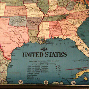 Vintage Weber Costello United States Possessions Wc Huge 52 X40 Wall Map Usa