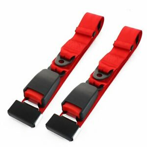 2pcs Adjustable 2 Point Harness Seat Belt Lap Strap Red Buckle Cars Universal