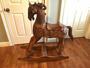 Solid Wood Rocking Horse Antique Vintage Hand Carved Beautiful Extravagant