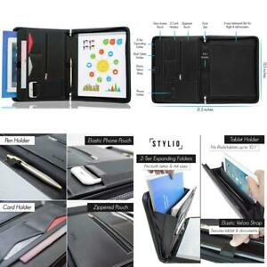 Stylio Zippered Padfolio Portfolio Binder Interview Resume Document Organizer