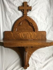 Antique Wood Church Shelf Celtic Cross Architectural Salvage Book Flower Stand