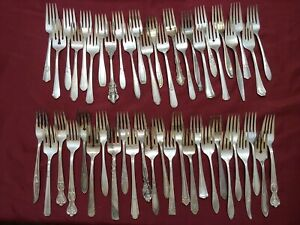 50 Piece Lot Silverplate Salad Forks Table Use Flatware Utensils