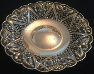 Antique Sterling Silver Footed Bowl With Flower Pattern