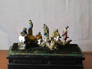Antique Chinese Hand Sculpted Porcelain Statue Display Of Figures