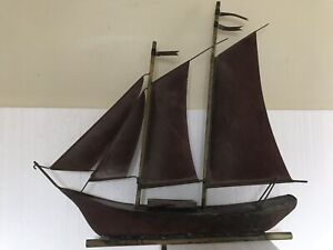 Vintage Antique Copper Boat Weathervane Sailing Ship Schooner 27