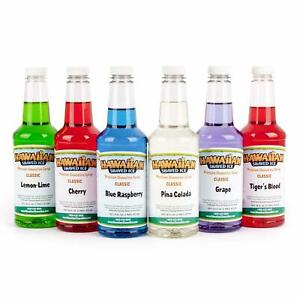 Hawaiian Shaved Ice 6 Flavor Pint Pack Includes 6 Snow Cone Syrups 16oz Each