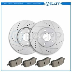 Front Discs Brake Rotors And Ceramic Pads For Chevrolet Hhr 2006 2011 Drill Slot