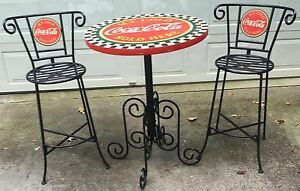 AUTHENTIC VINTAGE  COCA-COLA  WROUGHT IRON TYPE  BAR OR  PATIO TABLE