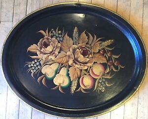 Large Antique Hand Painted Black Toleware Serving Trayfloral Delighttole Tray