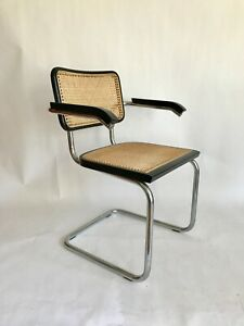 Marcel Breuer Cesca Style Cane Black Chair With Arms