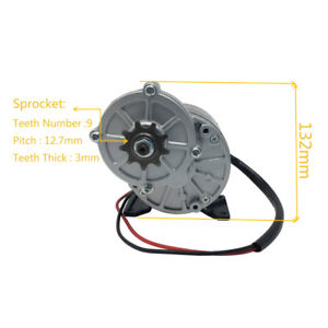 24v 36v 350w 300rpm My1016z3 Gear Reduction Electric Motor With 9 Tooth Sprocket