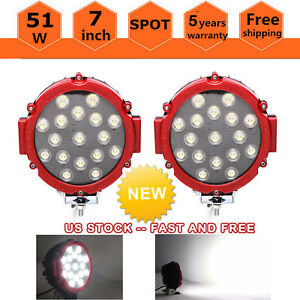 7inch 51w Round Led Work Light Spot Off Road Fog Driving For 4wd Boat Jeep Red