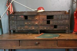 1920s Nut And Bolt Cabinet Hardware Store Apothecary Counter Vintage 35 Drawers