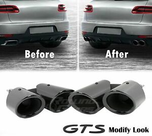 Gts Look Exhaust Pipes Muffler Tips For Porsche Macan Base 2 0t Gloss Black