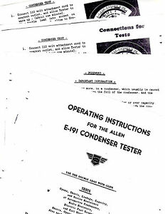 Allen E 191 Condenser Tester Instruction Sheets With Wiring Diagram Re
