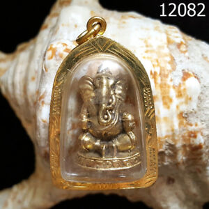 Gold Case Phra Pikanet Ganesh For Success Love Lucky Thai Amulet 12082g