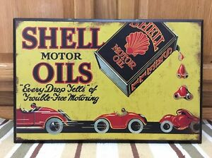 Shell Motor Oil Gasoline Can Car Coupe Wood Texaco Mobil Petroleum Vintage Style