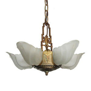 Antique Five Light Art Deco Slip Shade Chandelier Warwick Design Nc3409