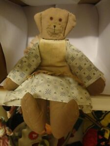Primitive Country Cloth Dog Doll In Country Dress Distressed Apron Folk Art