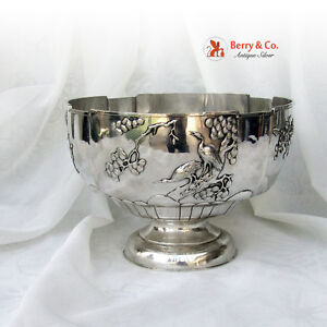 Chinese Export Silver Large Punch Bowl Woshing 1860 Shanghai
