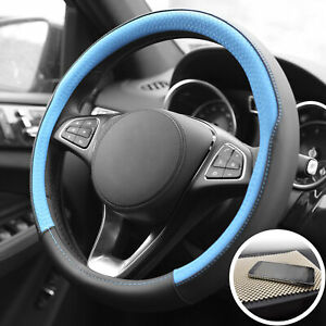Leather Steering Wheel Cover For Car Suv Van Blue Black With Beige Dash Mat