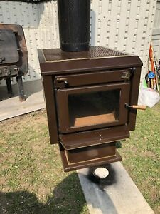 Antique Cast Iron Wood Burning Stove Furnace Heater Kent Logic