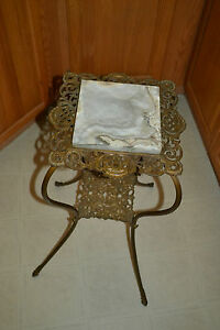 Antique Victorian Ornate Cast Iron Pierced Metal Marble Fern Stand End Table