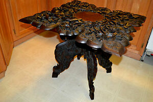 Victorian Ornate Carved Wood Parlor Table High Relief Signed Jubbar Khan