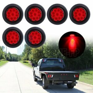6x 2 Round Side Marker Universal Tail Light 9 Led Flower Petal Look Red W Grom