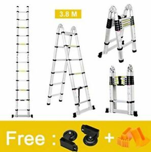 Finether 12 5 Ft Aluminum Telescopic Extension Ladder Portable Heavy Duty