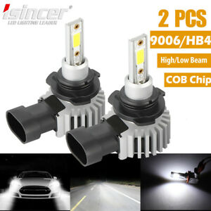 Pair Cree 9006 Led Headlight Lamp Cob Light Bulbs Conversion Kit 110w Hid 6000k