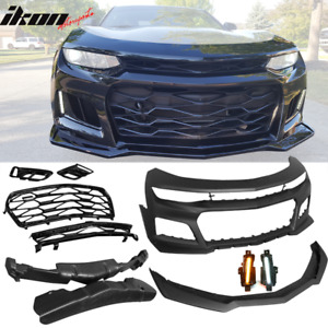 Fits 16 18 Chevy Camaro Zl1 Style Front Bumper Conversion Drl Fog Lights Pair