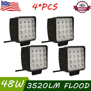 4x 48w Square Led Work Light Flood Beam For Truck Driving Fog Lamp 4wd Ford Boat
