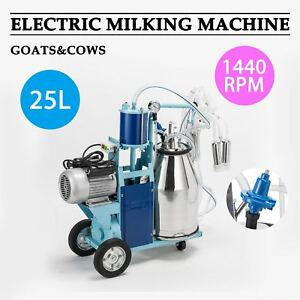 25l Electric Milking Machine For Goats Cows W bucket 550w 2 Plug 1440rpm Good