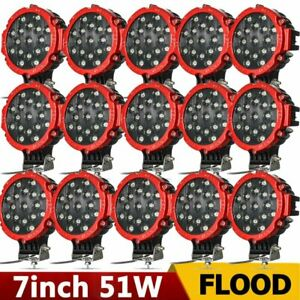 20x 7 51w Round Led Work Light Spot Off Road Fog Driving 4wd Boat Jeep Red Hp