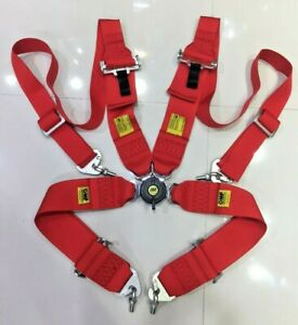 Universal Red 4 Point Camlock Quick Release Racing Seat Belt Harness For Omp 3