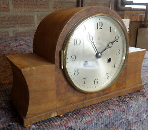 Chiming Walnut Mantel Clock Napolean Style For Restoration With Pendulum