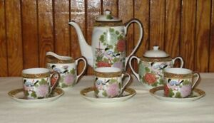 Hand Painted Moriage Teapot Tea Creamer Set Japanese Two Sided Decoration