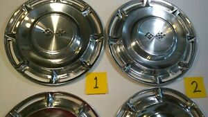 Chevrolet 50 s 60 s Dog Dish Crossed Flags Set Of 4 Hubcaps 14
