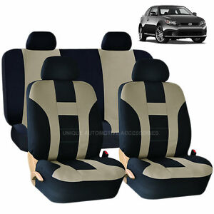 Beige Black Double Stitch Seat Covers 8pc Set For Scion Tc Xb
