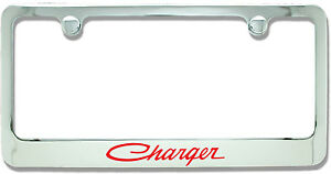 Dodge Charger Classic Red Chrome Plated Metal License Plate Frame Holder