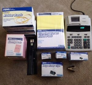 Office Supply Lot casio Calculator h d Stapler rubber Bands pads clips