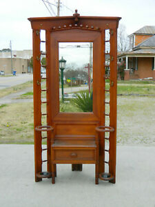 Walnut Victorian Corner Hall Tree Cane Umbrella Stand With Seat