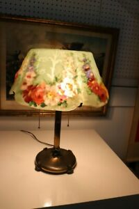 Antique Puffy Glass Lamp Signed Stained Glass Pairpoint
